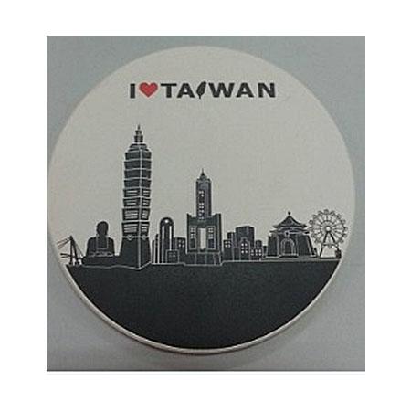 印象台灣吸水杯墊-白